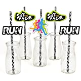 Set The Pace - Running - Paper Straw Decor - Track, Cross Country or Marathon Party Striped Decorative Straws - Set of 24
