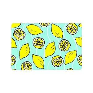 """Limón Juicy Fruit Cartoon tela no tejida Felpudo para interior/exterior/cuarto de baño Felpudo alfombra para el hogar/oficina/dormitorio 23.6""""(L) X 15,7(W)"""