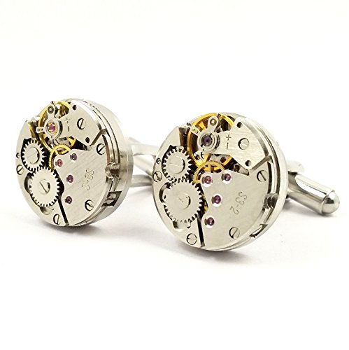 LBFEEL Cool Watch Movement Cufflinks for Men with a Gift Box by LBFEEL (Image #2)