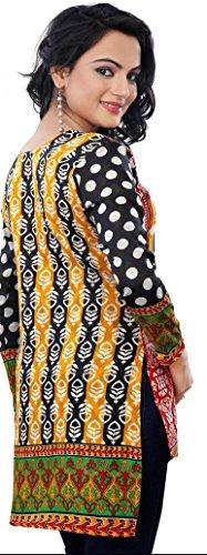 India Tunic Top Kurti Womens Printed Cotton Blouse Indian Apparel (Black, M)