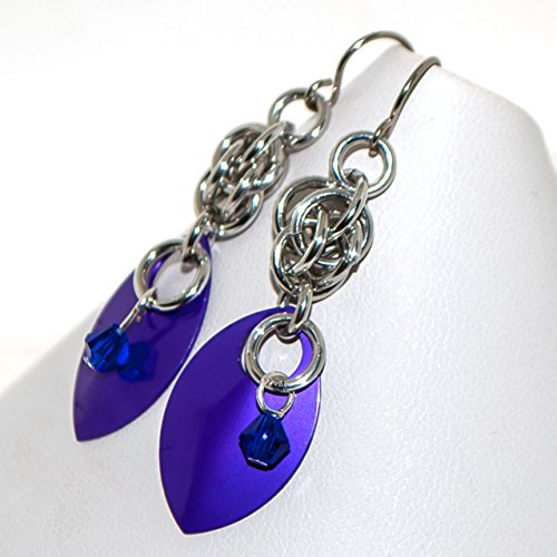 Purple Scales and Crystals Chainmaille Earrings Gift for Woman