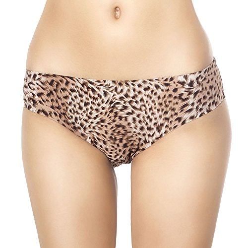 iB-iP Women'S Sheer Leopard Eyelets See-Through Lace Back Low Rise Brief Panty, Size: S-M, Cognac (Low Rise Print Panties)