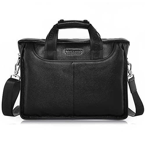 (BOSTANTEN Leather Briefcase Handbag Messenger Business Bags for Men Black)