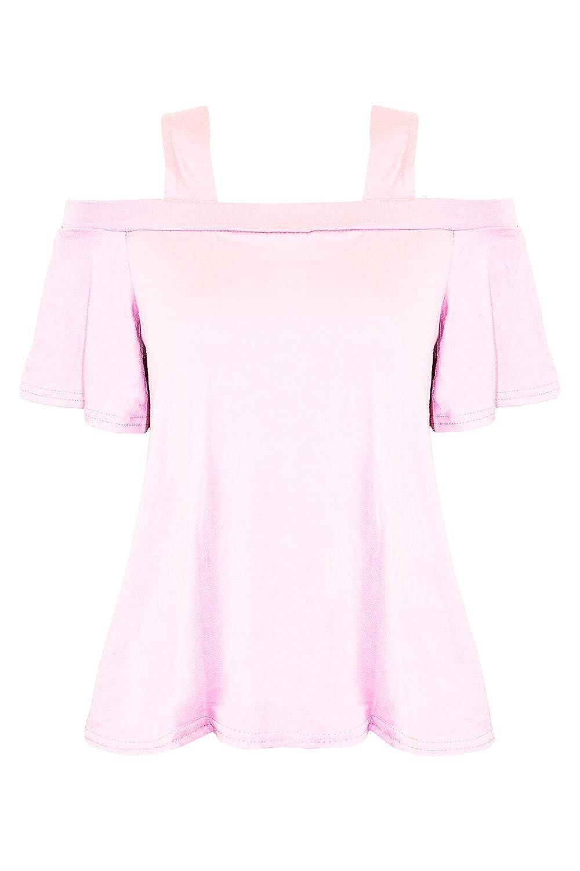Oops Outlet Kids Girls Childrens Strappy Off Shoulder Bardot Short Sleeve Flared Swing Top