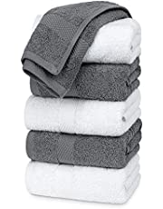 White Classic Luxury Hand Towels   Cotton Hotel spa Bathroom Towel   16x30   6 Pack   3-Grey /3-White