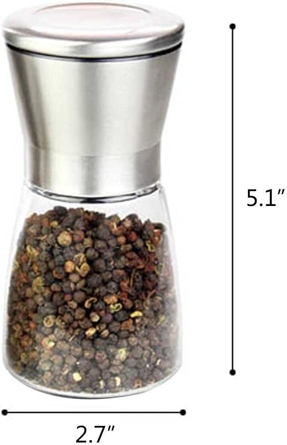 Adjustable Coarseness Grind Setting Salt and Pepper Shakers by Bloomingoods - 6 Oz Glass Base Pepper Mill and Salt Mill Premium Stainless Steel Salt and Pepper Grinder Set of 2