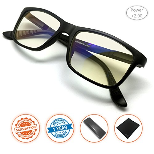 J+S Vision Reading Glasses with Anti Blue Light Function, Crystal Clear Spring Hinged and Magnified iPad/Tablet and Electronics Reading Glasses for Men and Woman (Power +2.00) from J+S