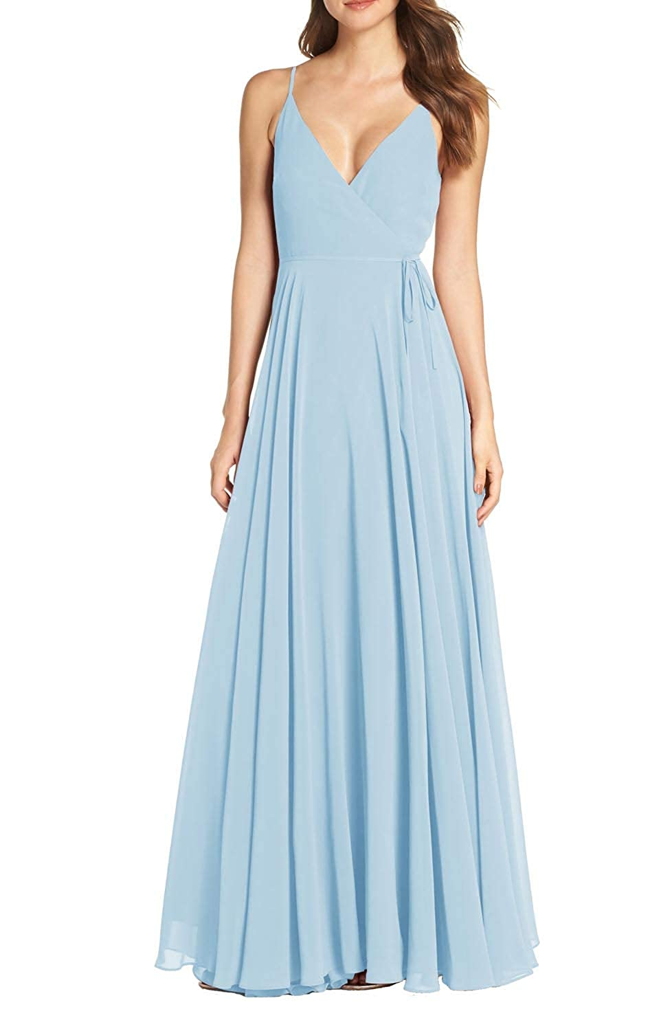 Ice bluee FeiYueXinXing Women's Sleeveless V Neck Evening Dresses Long Bridesmaid Ball Gown Prom Skirt