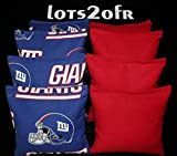 CORNHOLE BEAN BAGS w NEW YORK GIANTS fabric logo bags TAILGATE!
