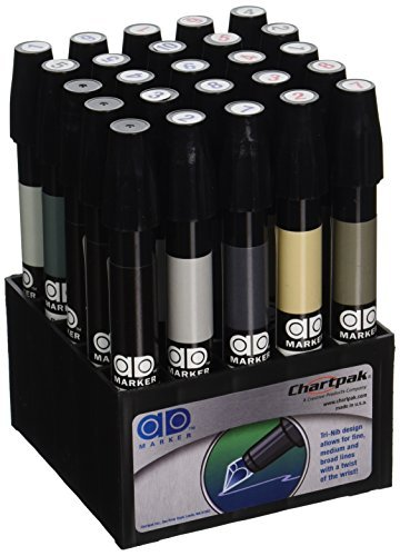 The Original Chartpak AD Markers, Tri-Nib, 25 Assorted Warm/Cool Grey Colors in Tabletop Cube, 1 Each (E) by Chartpak, Inc.