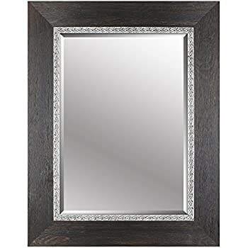 mirrorizeca beveled hanging wall decorative mirror with black embossed frame 30 inch - Mirror With Black Frame