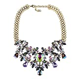 NABROJ Purple Statement Necklace Collar Choker Crystal Fashion Necklace Novelty Costume Jewelry for Women 1 PC with Gift Box-RC04 Purple