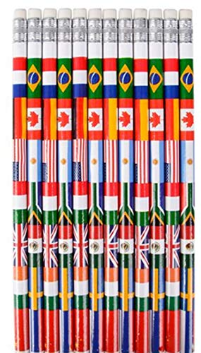 HAPPY DEALS ~ Set of 48 ~ Multicultural Flag Pencils ~ Around The World Passport and Travel -