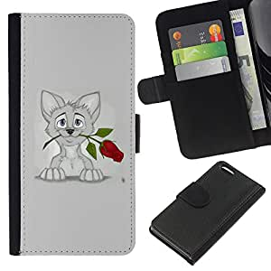 eJoy---La carpeta del tirón la caja de cuero de alta calidad de la PU Caso protector - Apple iPhone 5C - --Sweet Cat Kitten Grey Art Drawing Rose