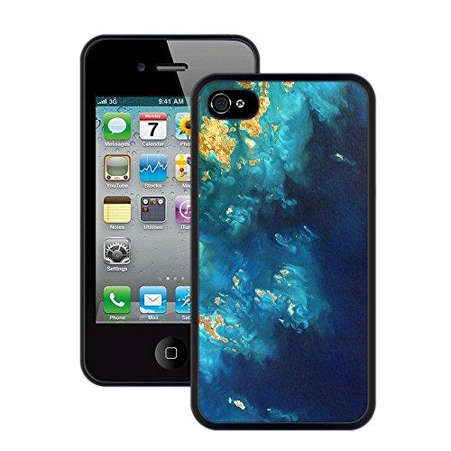 Ozean-Inseln | Handgefertigt | iPhone 4 4s | Schwarze Hülle