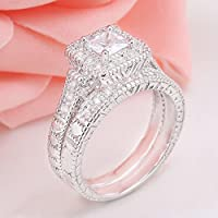 elegantshop Fashion Women 925 Silver Princess Cut White Topaz Ring Set Wedding Band Jewelry (7)