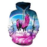SAYM Unisex Simulation Printing Galaxy Pocket Hooded Sweatshirt Alpaca M