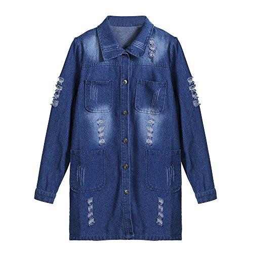 pour Manteau Magiyard Femmes Denim Longues Bleu Manches en à à Manches Longues qTxUwzn4q