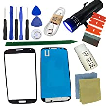S4 Front Glass Screen Replacement Kit, Sunmall Front Outer lens Glass Screen Replacement Repair Kit LCD Glass Repair Kit With UV Glue UV Torch For Samsung Galaxy S4 (Black)