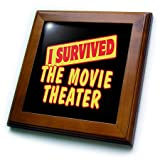 3dRose ft_118367_1 I Survived The Movie Theater Survial Pride and Humor Design Framed Tile, 8 by 8-Inch