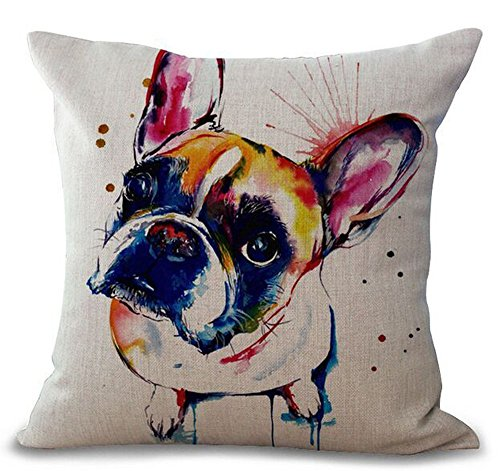 18 x 18 Inches Cartoon Lovely Animal Abstract Oil Painting Adorable Pet Dogs Boston Terrier Bulldog Throw Pillow Covers Cushion Cover Decorative Home Bedroom - Linen Pillow Terrier