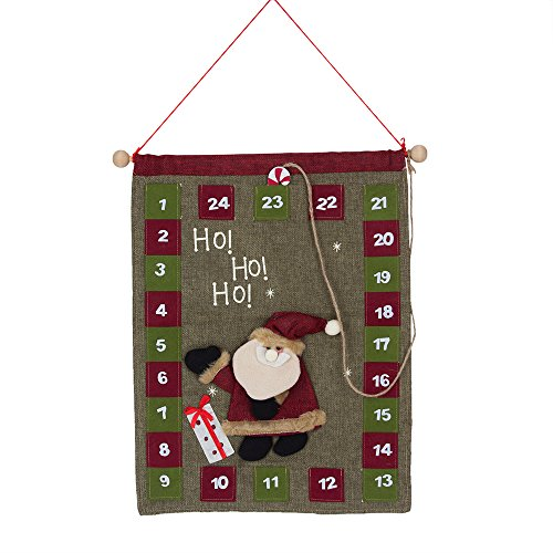 Tonsiki Linen Santa Claus Countdown to Christmas Advent Calendar for Kids Gifts,Christmas Decoration (Christmas Banner Countdown Calendar)
