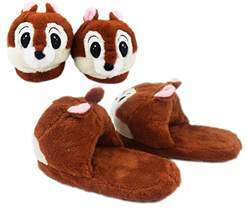 Disney's Chip and Dale Soft and Furry House Slippers (Men's Size 8-10) (Chip And Dale Costumes)