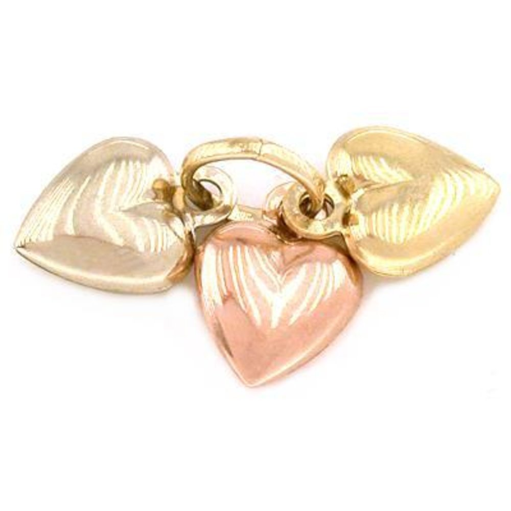 3 Puffed Heart Charms 14K Gold Tri-Color Jewelry 8mm