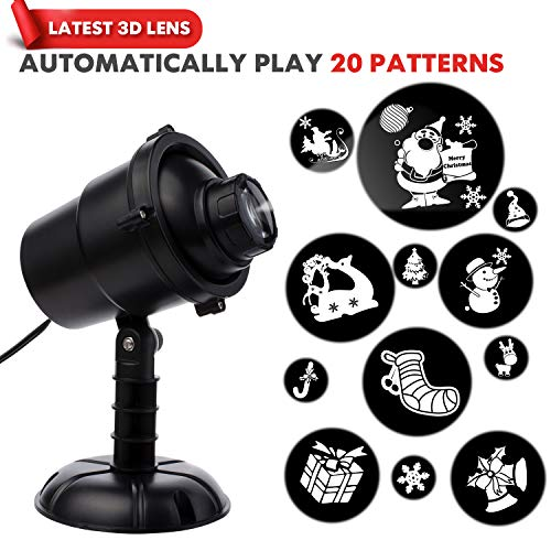 3D Rotating Projection Lamp | Christmas Projector Light | 20 Moving Christmas Patterns for Indoor Outdoor Use | Remote Control | Waterproof | 5m Cable | 15m Max Distance