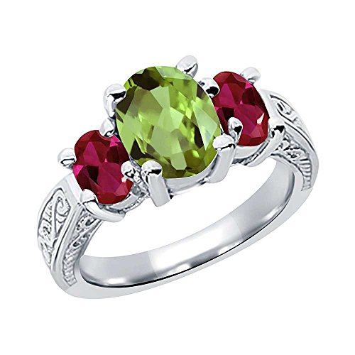 Green Peridot & Red Created Ruby 925 Sterling Silver 3-Stone Ring (2.71 Ctw Oval, Available in size 5, 6, 7, 8, 9)