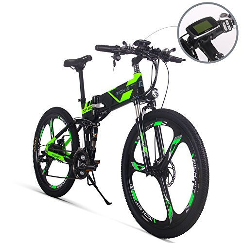 Electric Folding Mountain Bike Mens Bicycle MTB RT860 250W 36V 8Ah 26'' Inch Dual Suspension 21Speed SHIMANO Dearilleur LG Battery Cell Double Disc Brake Green (MAGNESCIUM) (Womens Bike Sport Mountain 26')