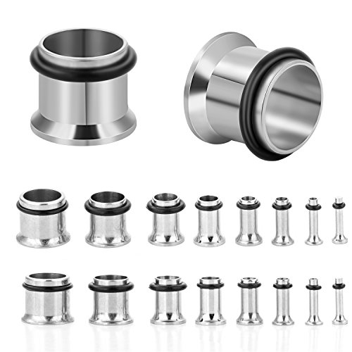 CABBE KALLO 18PCS Ear Plugs Stretching Kit Stainless Steel Gauge Tunnel Set Single Flared Expanders 14G-00G (Silvertone)