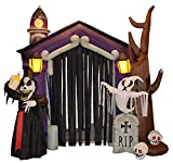 8.5 Foot Halloween Inflatable Haunted House Castle with Skeleton, Ghost & Skulls