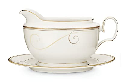 Amazon.com | Noritake Golden Wave 2-Piece Gravy Boat with Tray ...