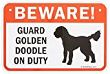 SmartSign Aluminum Sign, Legend''Beware! Guard Golden Doodle on Duty'' with Graphic, 12'' high x 18'' wide, Black/Red on White