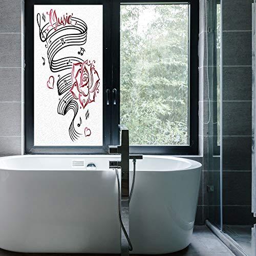 C COABALLA Vinyl Window Film,Tattoo Decor,Work Well in The Bathroom,Pencil Drawing Romantic Hourglass Symbol of Eternal Love,24''x48'' -