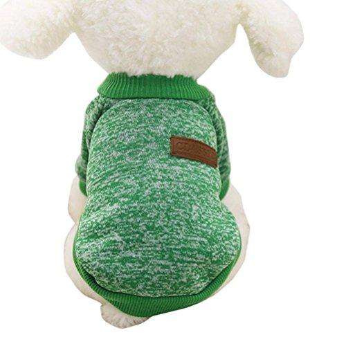 Howstar Pet Classic Outfit, Puppy Warm Coat Cute Woolen Doggie Winter Sweater (XS, Green)