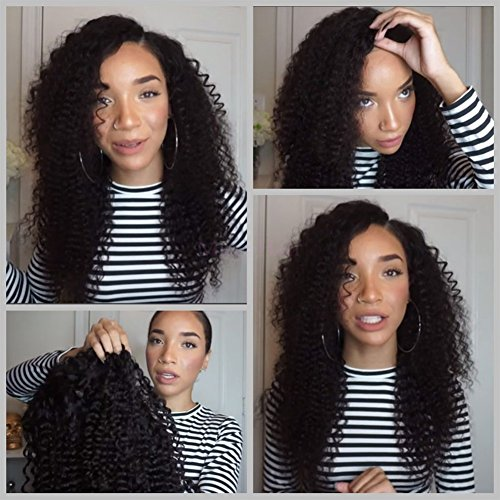 Nicewig Mongolian Afro Kinky Curly Full Lace Wigs Glueless Lace Front Wig 150% Density Virgin Remy Human Hair Wig with Baby Hair For African Americans 16