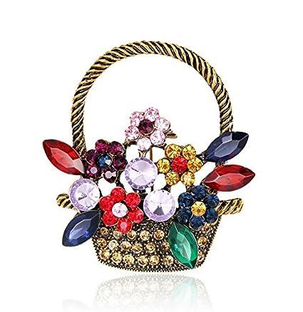 Amazoncom Bingo Point Beauty Crystal Flower Baskets Brooch