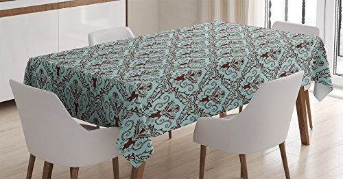 Damask Decor Tablecloth by Ambesonne, Classics Fabric Design Style Leaves Foliage Damask Pattern Curvy Lines Ornate, Dining Room Kitchen Rectangular Table Cover, 60 X 90 Inches, Turquoise Brown - Brown Country Dining Table