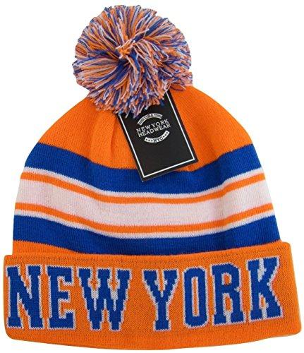 New York City Hunter USA Striped Men's Winter Hats (Orange/Blue) -