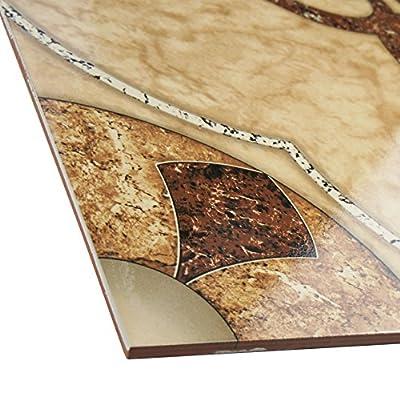 "SomerTile FCL18CAR Dubai Ceramic Floor and Wall Tile, 17.625"" x 17.625"", Beige/Cream"