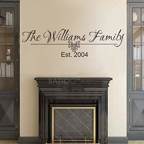 "BATTOO Family Name Wall Decal Family Monogram Last Name Wall Decal Family Established Date Vinyl Wall Decal 22""W Family Decor Wall Sticker PLUS free hello door decal, Black"