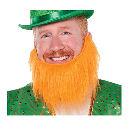 St. Patrick's Day Leprechaun Beard Costume Party Accessory Favour (1 Piece), Orange, 7 1/2