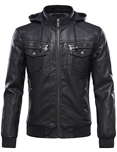 Tanming Men's Pu Leather Jacket with Removable Fur Hood (XX-Large, Black) by Tanming