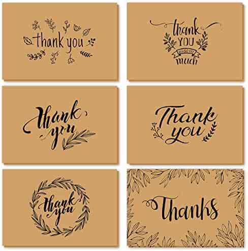 Thank You Cards of Ohuhu, 36 Pack Brown Kraft Paper 6 Design of 36 Assorted Thank U Greeting Note Card with Envelopes and Stickers for Wedding, Baby Shower, Anniversary, Blank Insides, 4 x 6 Inch