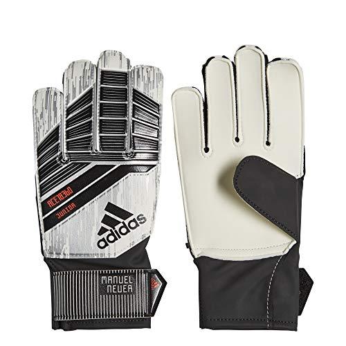 Metal Predator Sport - adidas Predator Junior Soccer Gloves,White/Silver Metal/Solar Red,Size 8 (Renewed)