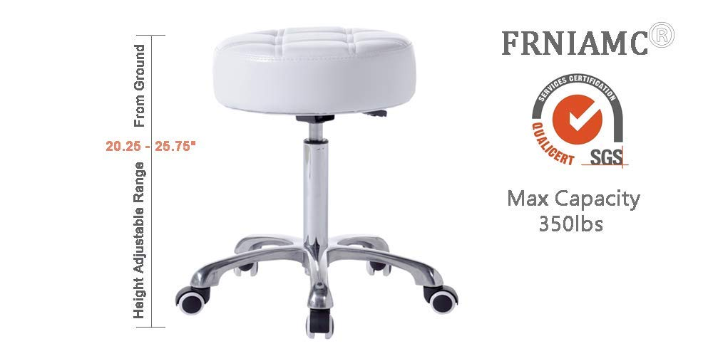 FRNIAMC Rolling Salon Stool- with Wider Comfy Round Seat- Height Adjustable Swivel Heavy-duty Chair with Wheels for Medical Salon Esthetician Artist Studio and Home Office Use(Black): Beauty