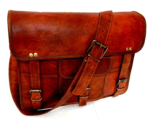 Firu-Handmade 15 Vintage Brown Leather Messenger Shoulder Laptop Bag Handmade