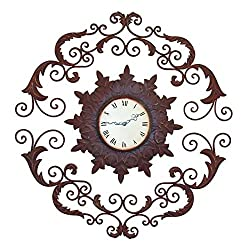 Scroll Medallion Iron Wall Clock | Open Metal Brown Ornate